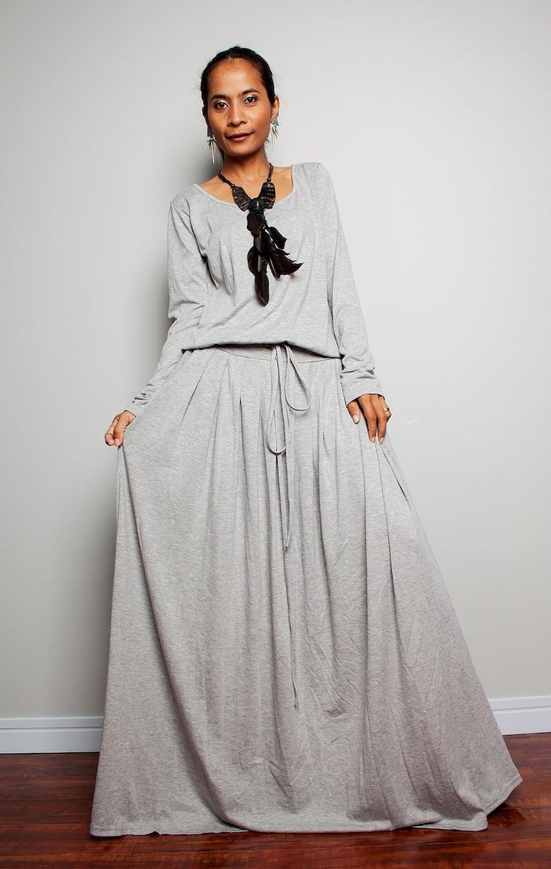 Large grey maxi dress | Plus size Light Grey Long Sleeve dress | oversized  blouson dress with pockets AUT1P