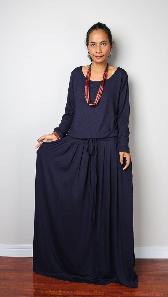 Dark blue plus size dress with long sleeves and pockets | Navy Blue Maxi  Dress | Dark Blue Holiday Resort Dress AUT1P