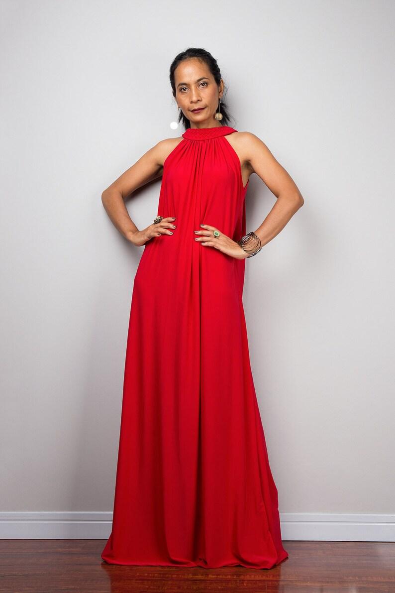 e4d9256d20b Red Halter Maxi Dress Long Red tube cocktail dress