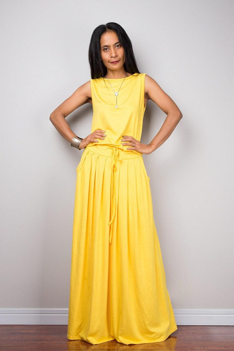 fb0b8c78128 Yellow Sleeveless Full Maxi Dress with pockets. Summer Floor