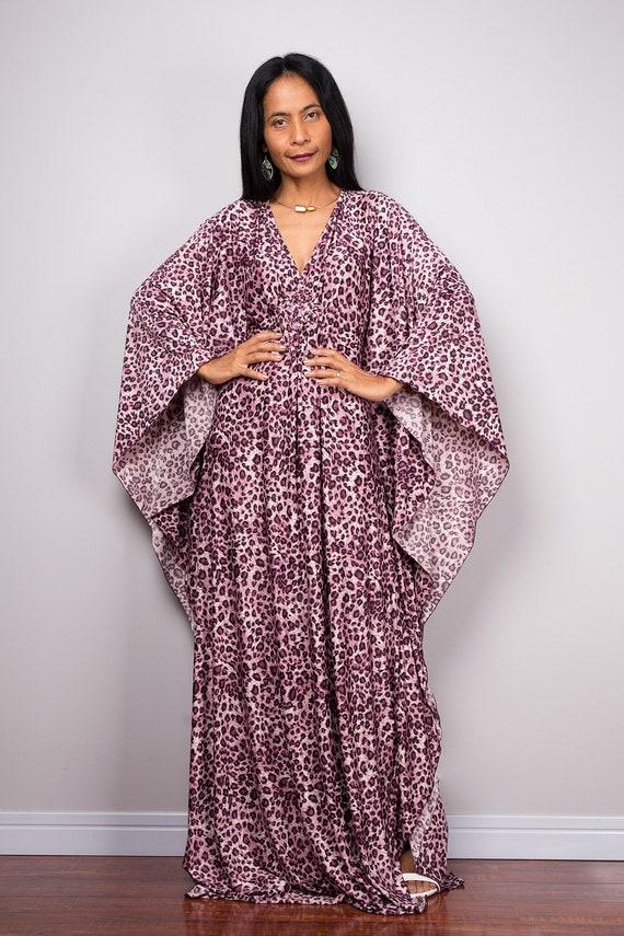 Boho Kaftan Dress, Leopard print Dress, An oversized loose fit plus size  dress, Grecian frock dress FU1P