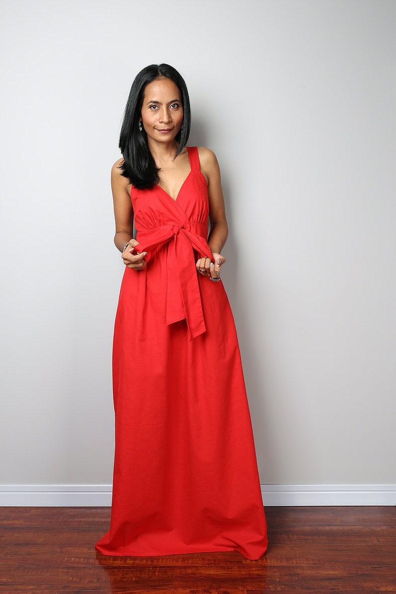 840a3b4a462 Rouge longue robe Maxi à lanières Robe de soirée Cocktail
