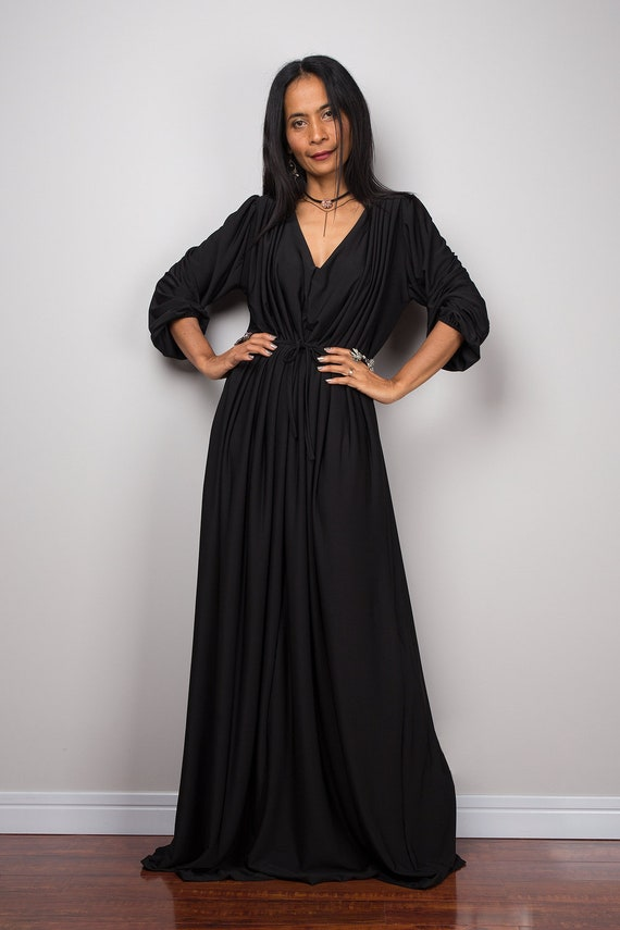 Long Black Maxi Dress With Long Sleeves Blouson Dress With Etsy