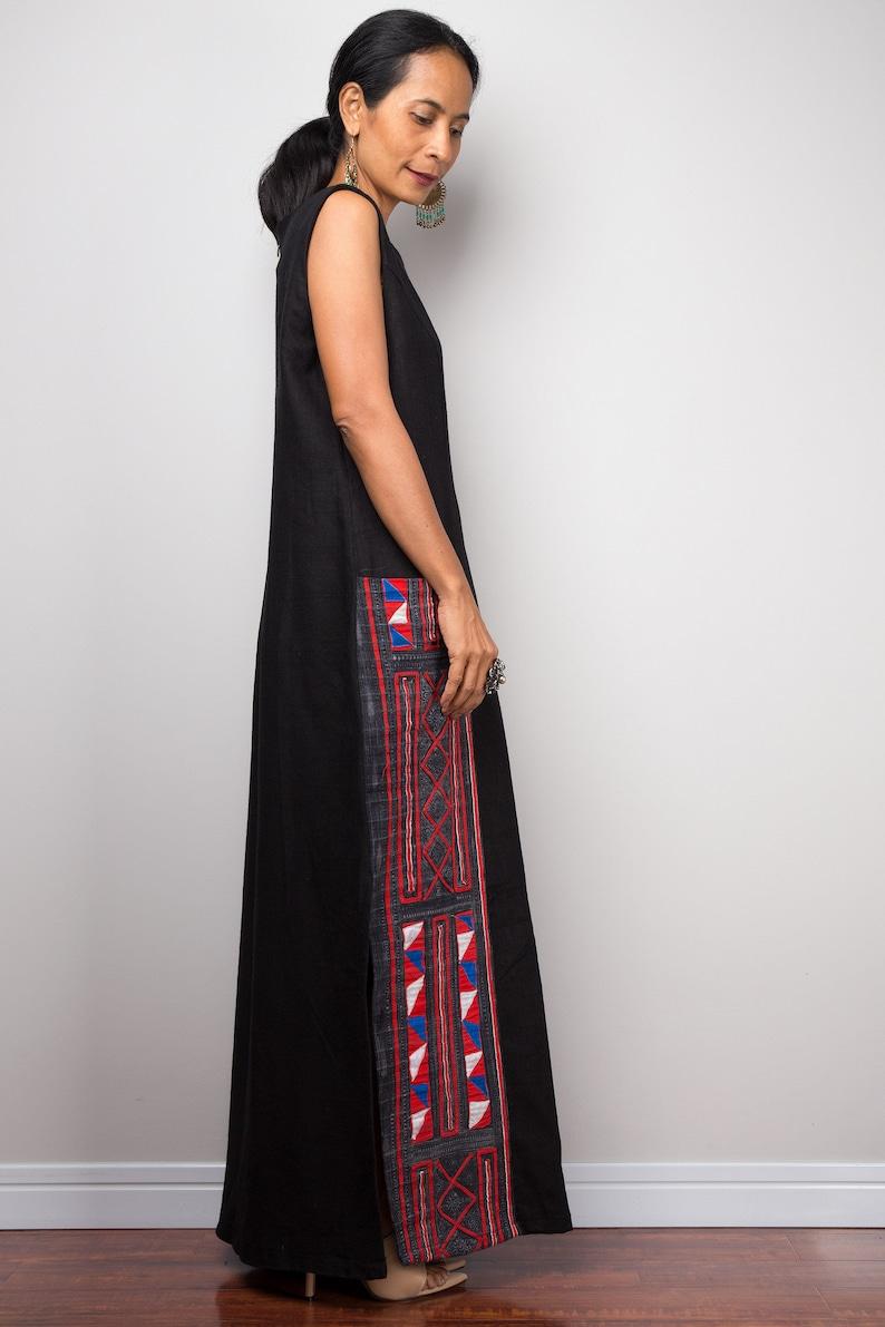 Vintage tribal dress Evening dress with split Hmong Hill tribe dress