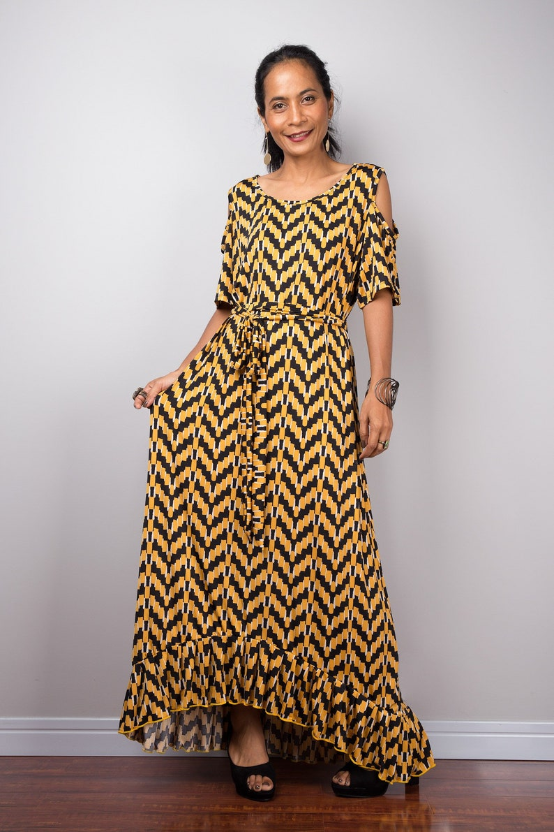 7c4f97513da7 Yellow Kaftan Open Shoulder Maxi Dress Loose fit frock dress