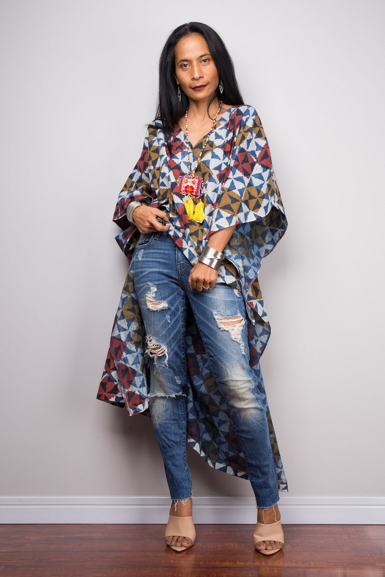 f5b5aa8ff1 Boho Kaftan top Cotton Summer Tunic top beachwear tunic   Etsy