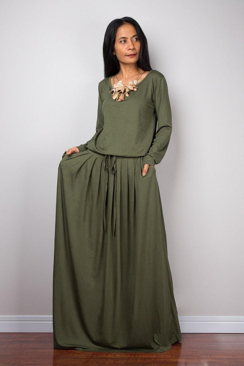 e90203a66a9e Long sleeve Green Woman's Maxi Dress with pockets | Etsy