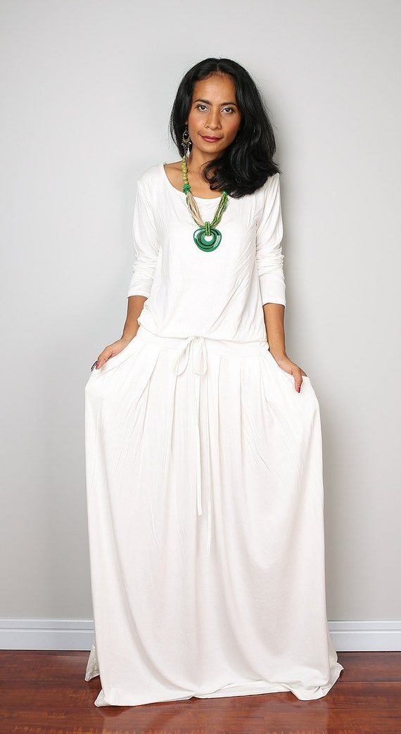 Plus Size Dress Off White Maxi Dress Long Sleeve Dress Etsy