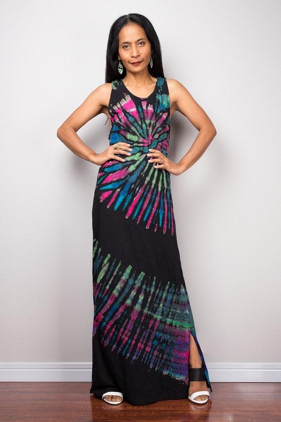 Rainbow Dress Maxi Dress Tie Dye Cotton Maxi Dress Tank Top Etsy
