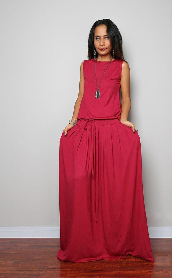 Plus size dress - Wine Red Maxi Dress - Sleeveless red dress : AUT9P