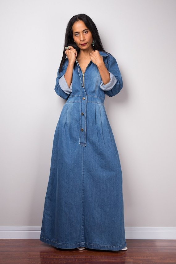 dcd8cd0133b Denim maxi dress with pockets long sleeved blue denim dress etsy jpg  570x855 Maxi dresses long