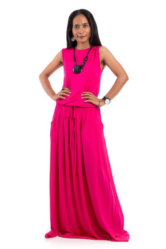 Pink dress, maxi dress, sleeveless dress, summer dress, long pink dress,  Plus Size dress : AUT9P