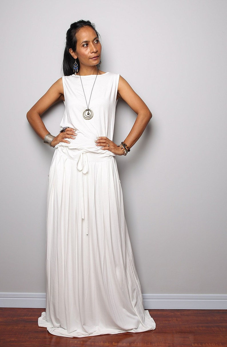 5f2dbee2228f PLUS SIZE Dress / Off White Maxi Dress Sleeveless dress : | Etsy