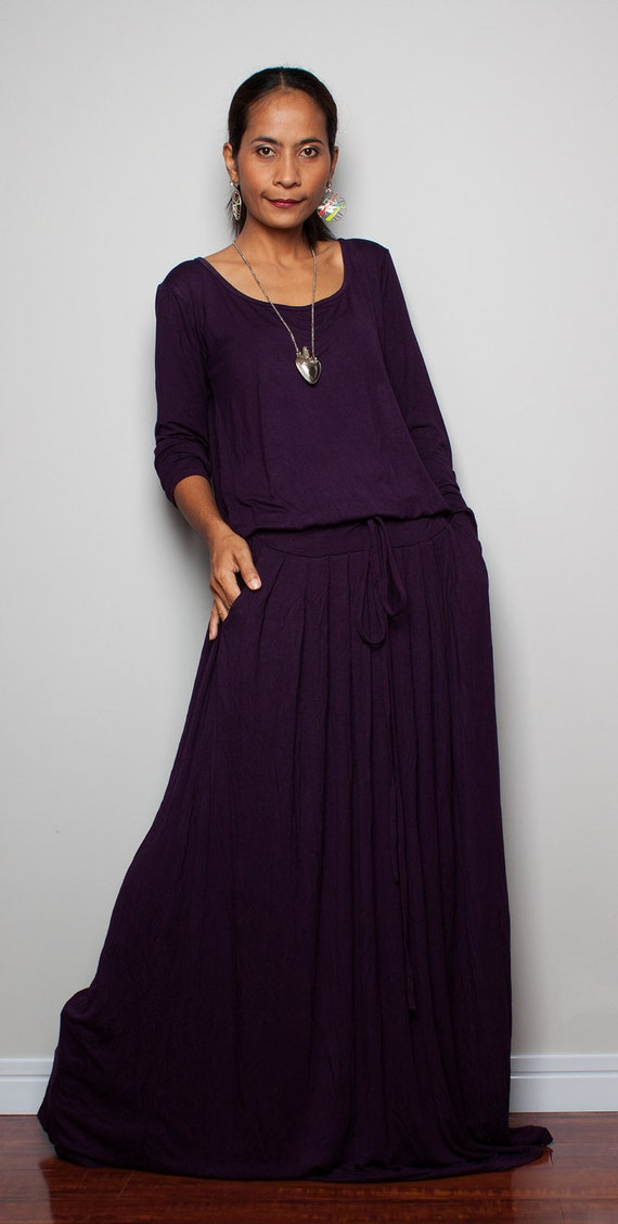 29e185583b0 PLUS SIZE DRESS Deep Purple Maxi Dress Long Sleeve dress