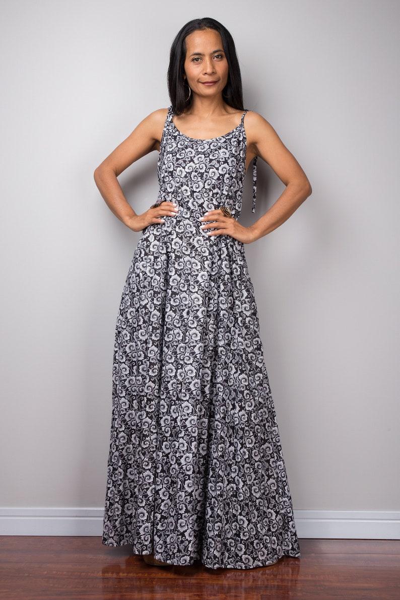 a4a4274e552a9 Strap dress, black and white dress, Summer Beach Dress, Maxi dress, long  black and white dress, cotton dress, boho sundress