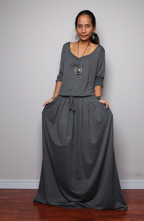 5b8bf285996 Gray Plus Size Maxi Dress with pockets Long Sleeve Top Grey