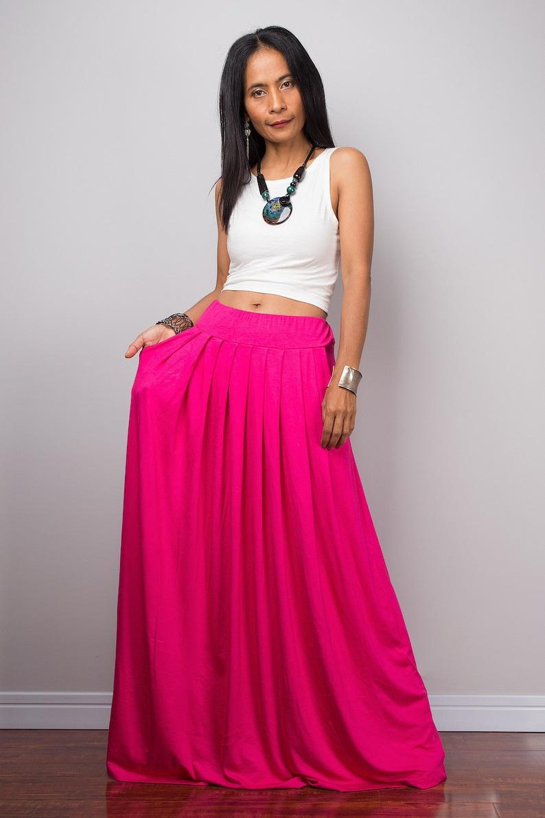 fa025169c0da1 Maxi skirt Long Pink Skirt with pockets Full skirt Handmade | Etsy