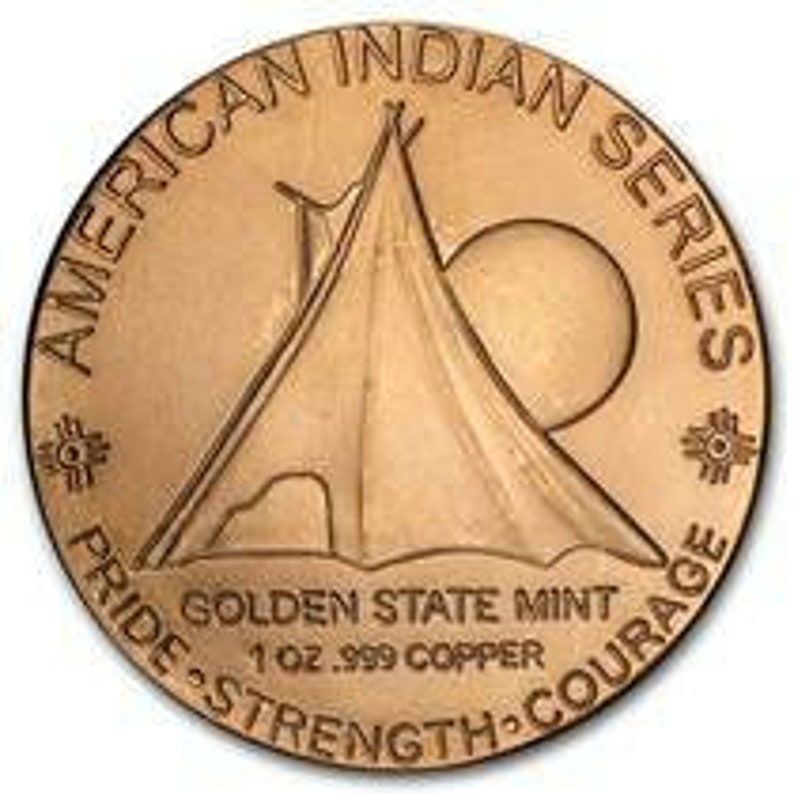 wrapped in 925 sterling silver bezel Gift Box. 1 oz solid copper American Indian Copper Coin.