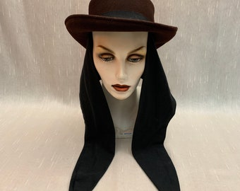 Vintage Women s Brown Wool Felt Hat with Attached Black Wool Scarf Bollman  Hat Company Doeskin Felt Made in USA 0379d11904d7
