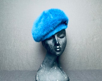 7d441ffa4bd6a Vintage Mod Blue Angora Kangol Design Mayfair Hat Beret Beanie Tilt United  Kingdom