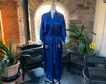 Vintage Royal Blue Embroidered Satin Robe Health Brand Rayon Asian Robe  with Brightly Colored Hand Embroidered Dragon Made in China adb79f498
