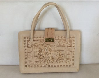 f86056a047ca Vintage Natural Tooled Leather Handbag Bull and Matador