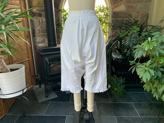 Antique 1900s Heavy White Cotton Pantaloons with … - image 2