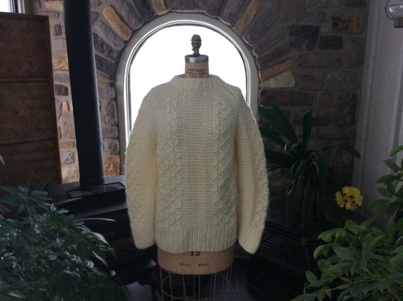 Vintage Irish Fisherman Wool Sweater Unisex, Handm