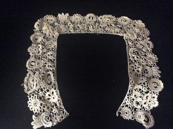 Antique Handmade Irish Lace Collar, Vintage Ecru … - image 5