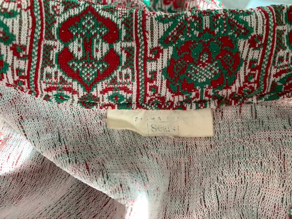 Vintage 1970s Red White and Green Textured Double… - image 10