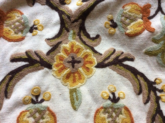 Vintage Handmade Natural Cotton And Wool Crewel Embroidery Etsy