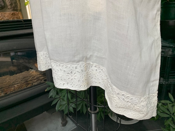 Antique White Cotton Nightgown Dress Attached Tie… - image 10