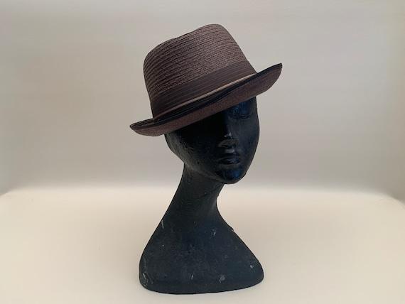 Vintage 1960s Men's Brown Imported Milan Straw Fe… - image 2