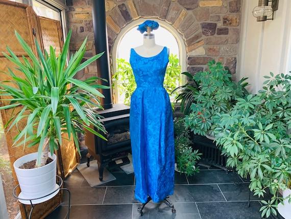 Vintage 1950s Royal Blue Satin Brocade Evening Dre
