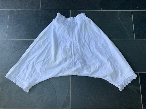 Antique 1900s Heavy White Cotton Pantaloons with … - image 10