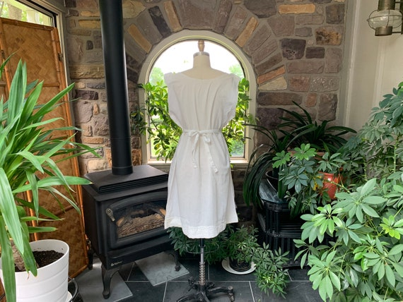 Antique White Cotton Nightgown Dress Attached Tie… - image 6