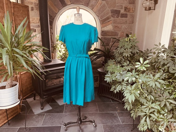 Vintage Teal Silk Studio 1970s Dress NOS with Tags