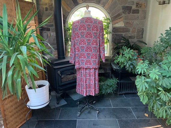 Vintage 1990s Red Black Gray Polyester Dress with… - image 6