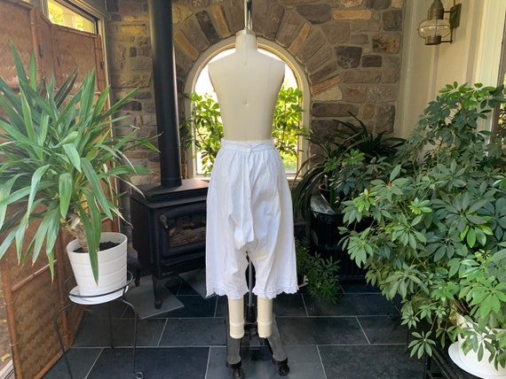 Antique 1900s Heavy White Cotton Pantaloons with … - image 6