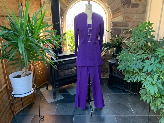 Vintage 1970s 2 Piece Purple Knit Tunic Top and Pa