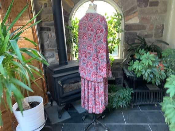 Vintage 1990s Red Black Gray Polyester Dress with… - image 8