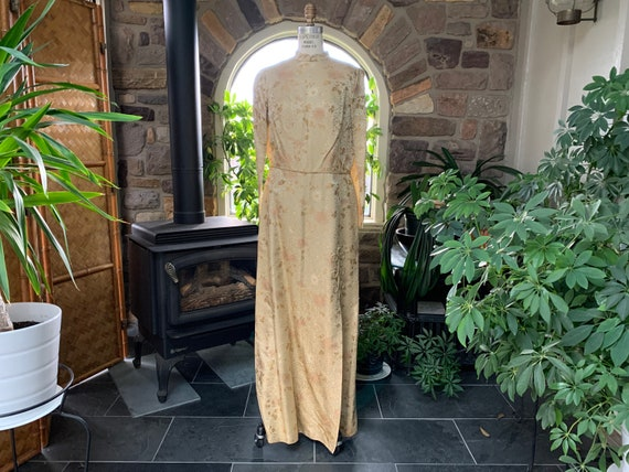 Vintage 1970s Gold Embossed Silk Asian Dress, Vint