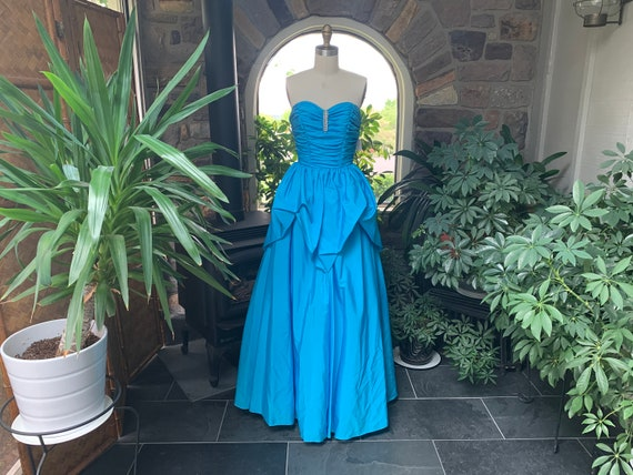 Vintage 1980s Blue Strapless Gown Mike Benet Forma