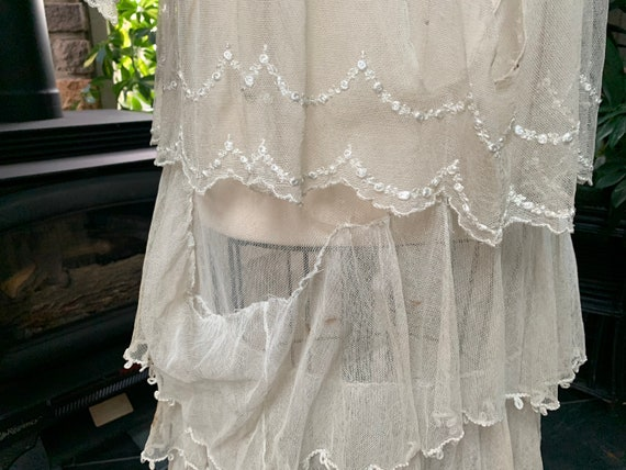 Antique Edwardian Tambour Net Lace Wedding Dress,… - image 10