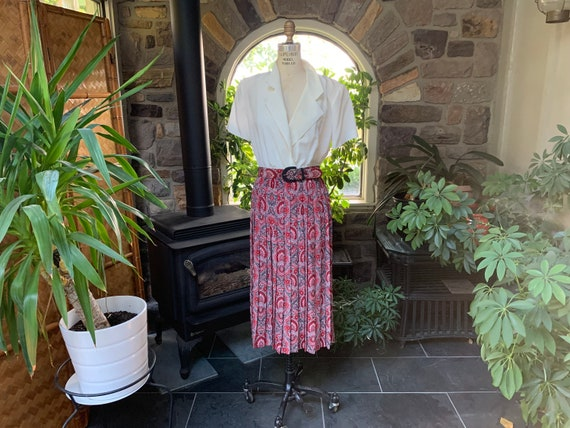 Vintage 1990s Red Black Gray Polyester Dress with… - image 2