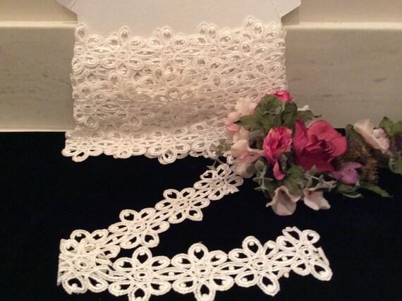 Dentelle ivoire blanc blanc blanc décoratif Vintage, dentelle de mariée, mariage dentelle, fournitures de couture, pays dentelle, dentelle ancienne, dentelle décorative a6d1c0