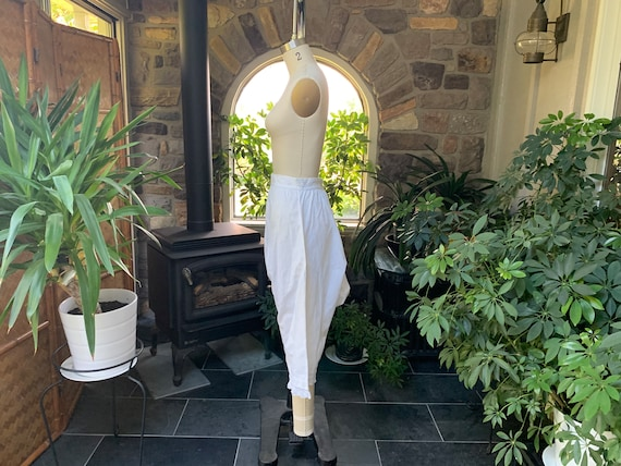 Antique 1900s Heavy White Cotton Pantaloons with … - image 4