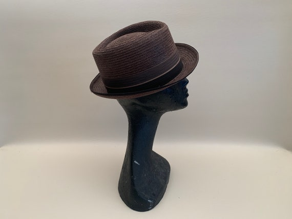 Vintage 1960s Men's Brown Imported Milan Straw Fe… - image 7
