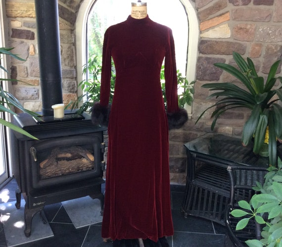 Vintage 1960s Wine Velvet and Fur Evening Dress Ki