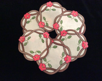Vintage 6 Appliqued  Ivory  Coasters with Roses, Wine Glass Cozy, Vintage Embroidery, Vintage Linens, Vintage Kitchen,